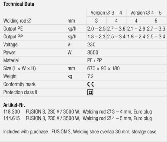singapore leister fusion 3 technical data