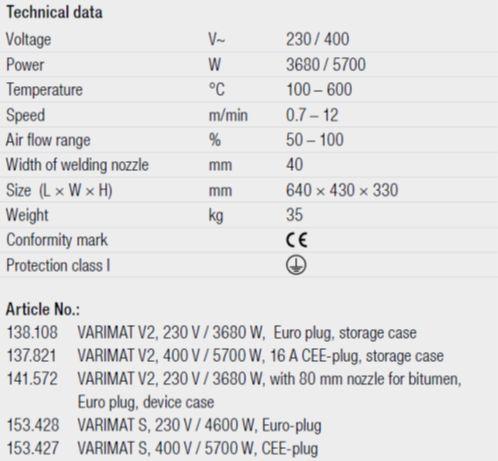 singapore leister varimat v2 technical data